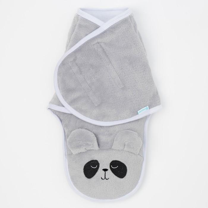 """Конверт-одеяло Крошка Я """"Пандочка"""", серый, рост 50-56 см"""