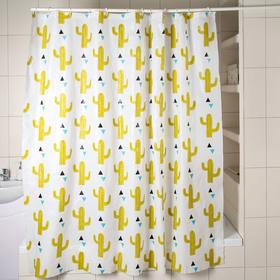 Штора для ванной комнаты Доляна «Кактусы», 180×180 см, EVA