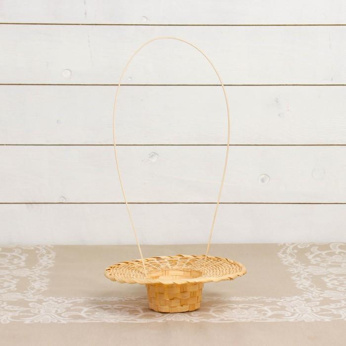 Корзинка «Шляпа», с ручкой, D=19,5 см, Н=4,5 см, бамбук