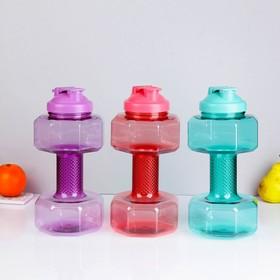 Бутылка для воды 2400 мл, в виде гантели, микс, 15х30 см