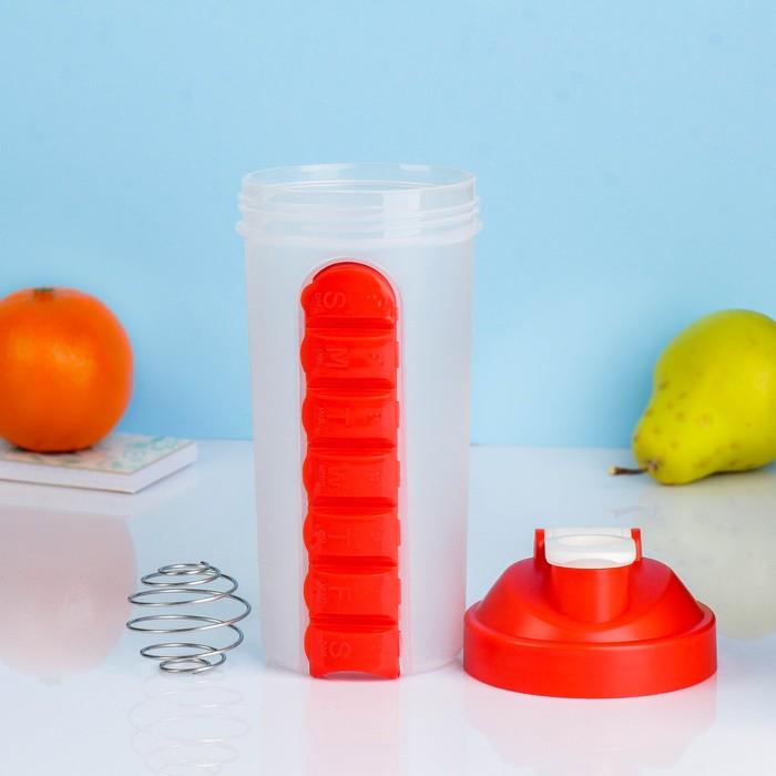 Шейкер 750 мл, таблетница по дням недели, с шариком, красный, 11х22 см