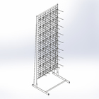 Rack with grid, unilateral 183*63cm, 3mm complete 48 hooks for seed color white