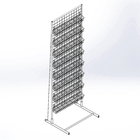 Rack with grid, single-sided, 183*63 cm, 3mm kit 8 shelves for seeds, color white