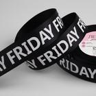 Лента репсовая «Friday», 25 мм, 22 ± 1 м, цвет белый/чёрный