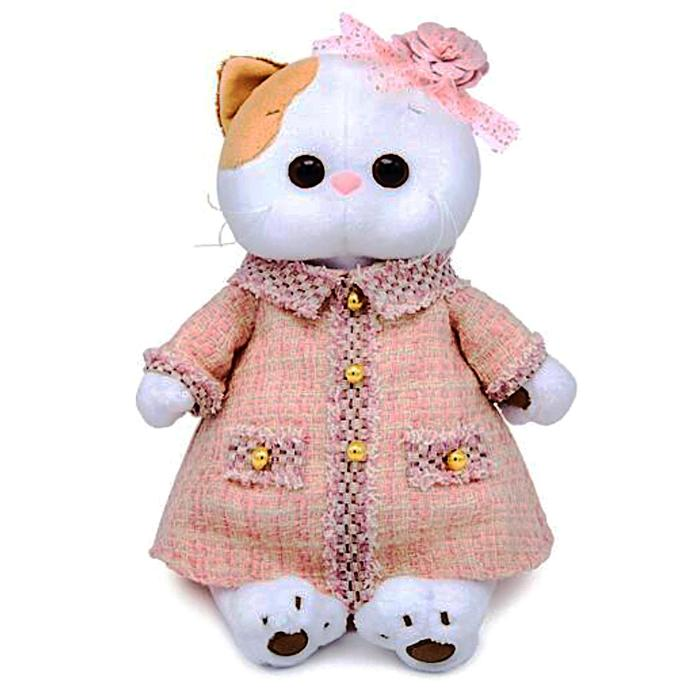 Мягкая игрушка «Кошечка Ли-Ли» в розовом костюме в клетку, 27 см - фото 1057317