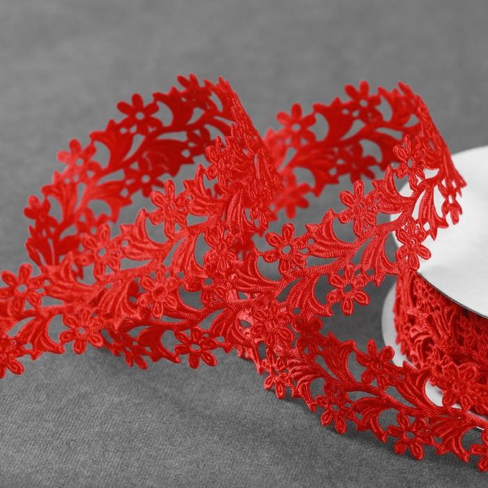 Лента фигурная «Ромашки», 25 мм, 9 ± 0,5 м, цвет красный