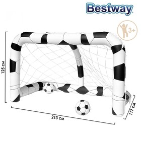 Ворота футбольные надувные (1 шт), 213 х 117 х 125 см, с 2 мячами, от 3 лет, 52058 Bestway Ош