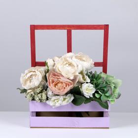 Кашпо флористическое с окном, лаванда, 15 × 9 × 25 см - фото 1547442
