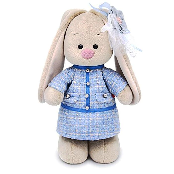 Мягкая игрушка «Зайка Ми» в голубом платье в клетку, 32 см - фото 105614141
