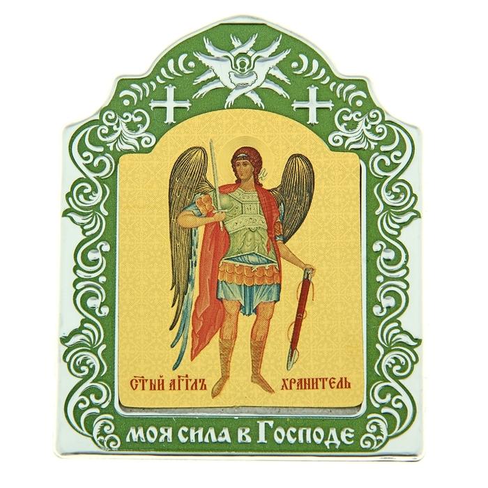 """Икона Архангела Михаила в киоте """"Моя сила в господе"""" на подставке"""