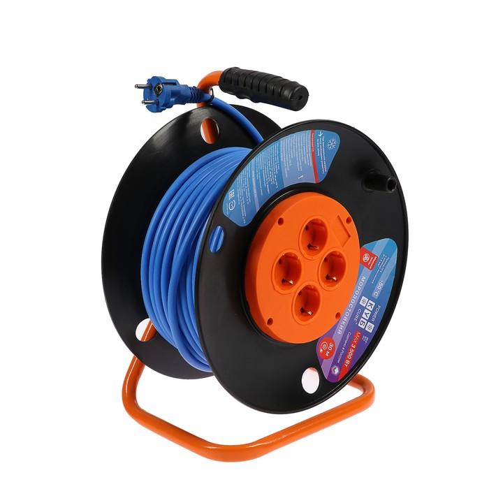 Удлинитель на катушке PowerCube, 4 розетки, 30 м, 16 А, 3500 Вт, с з/к, морозостойкий провод