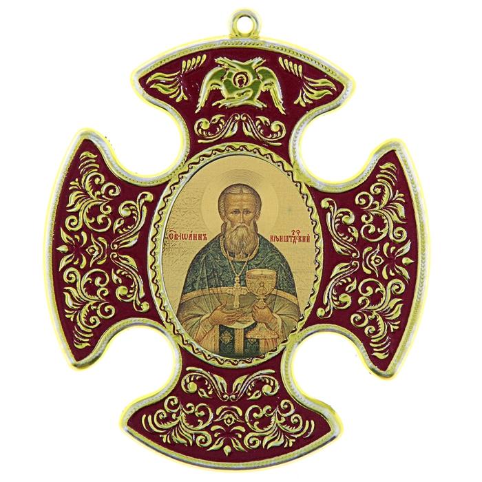 """Крестообразная икона в авто """"Иоанн Кронштадтский"""" на клеящейся основе"""