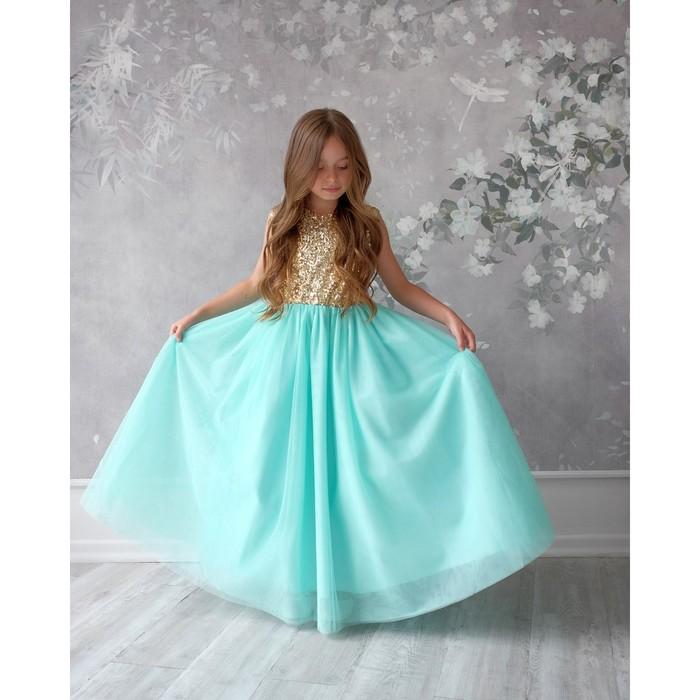 Платье детское KAFTAN, рост 98-104 см (30), золотой/бирюзовый
