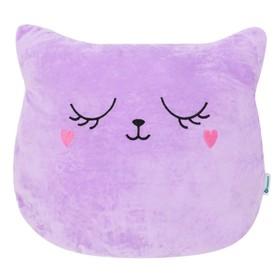 Подушка Крошка Я «Кошка фиолетовая» 48х38см, велюр, 100% п/э