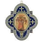 """Крестообразная икона в авто """"Святые царственные мученики"""" на клеящейся основе"""