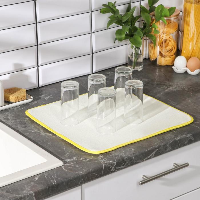 Коврик для сушки посуды 38×51 см, микрофибра, цвет МИКС