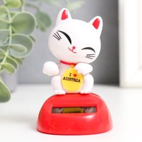 """Маятник пластик от солнечной батареи """"Кот Манэки-нэко счастливый"""" жёлтый 8,5х5х6 см"""
