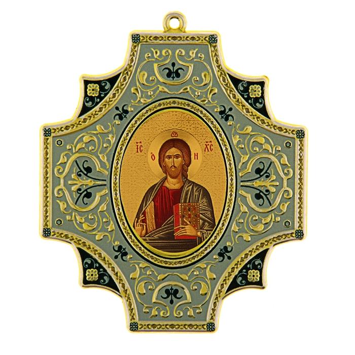"""Крестообразная икона в авто """"Иисус Христос"""" на клеящейся основе"""