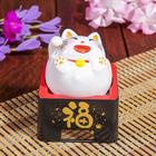 """Маятник пластик от солнечной батареи """"Весёлый кот Манэки-нэко"""" белый 10х8,5х8,5 см"""