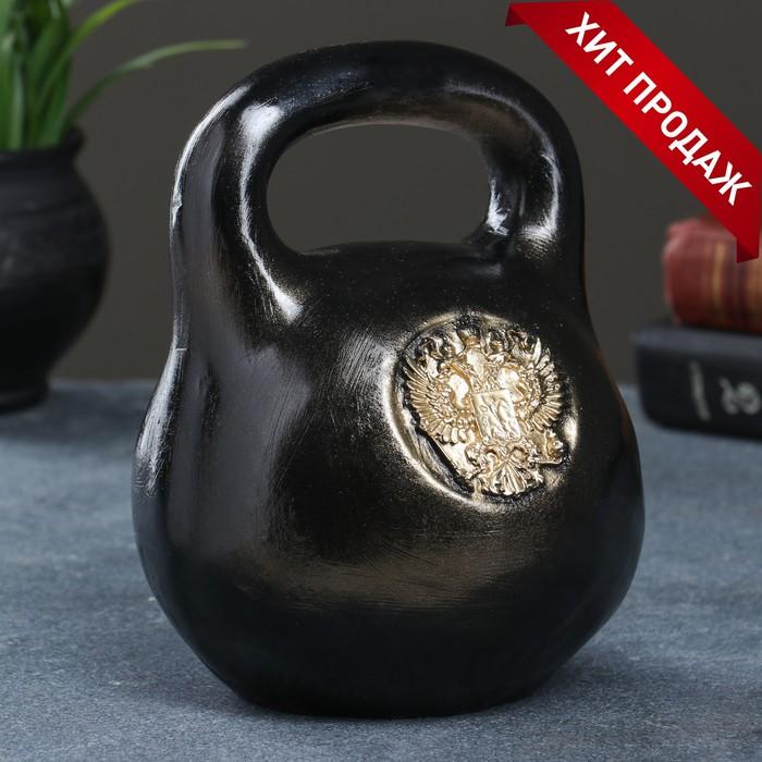 "Копилка ""Гиря с гербом"" черная 15х15х18см"