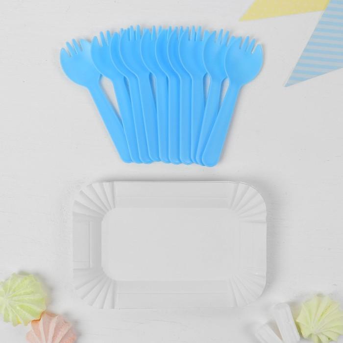 Набор для праздника «Десертный», 10 тарелок, 10 вилок 12 см, цвет голубой