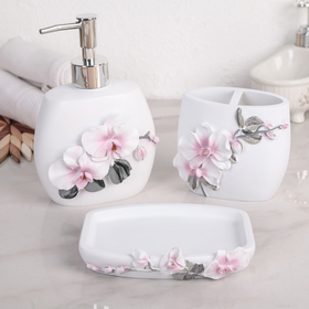 """Set of bathroom accessories, 3-piece """"Orchid"""""""