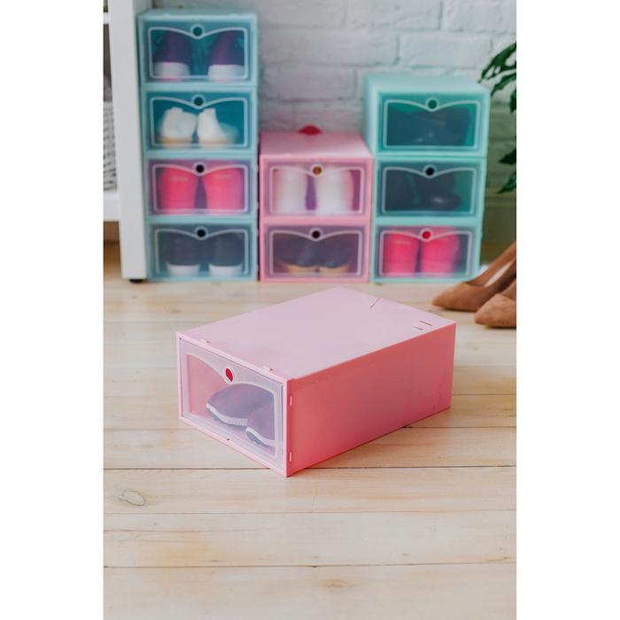 """Короб для хранения 22х31х13 см """"Моно"""" цвет розовый - фото 157377720"""