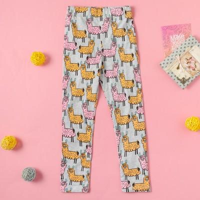 """Легинсы для девочки MINAKU """"Ламы"""", рост 86-92 см, цвет серый/розовый/оранжевый"""
