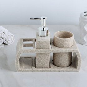 Набор аксессуаров для ванной комнаты, 3 предмета (дозатор 200 мл, стакан, подставка), цвет серый