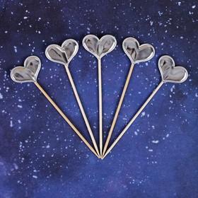 Топпер «Сердце», набор 5 шт., цвет серебряный