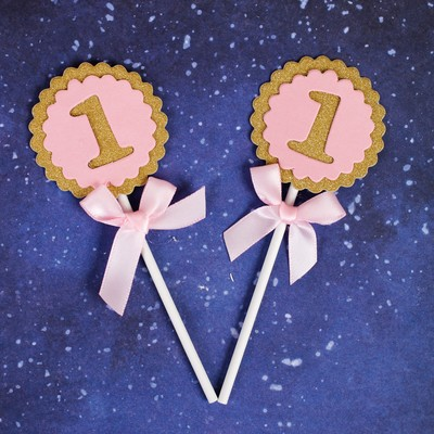 Топпер «1 годик», набор 2 шт., цвет розовый