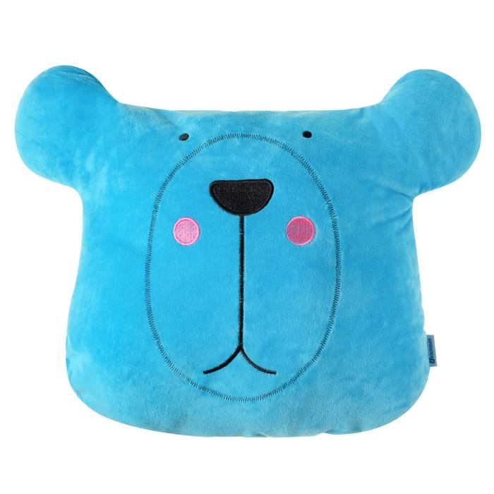 """Подушка """"Крошка Я"""" Мишка голубая 48х38см, велюр, 100% п/э"""