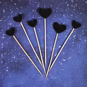 Топпер «Сердце», набор 6 шт., цвет чёрный