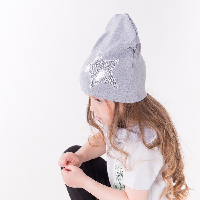 Комплект шапка/снуд со звездой из пайеток, серый меланж, р-р 46-50