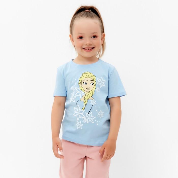 """Футболка детская Disney """"Frozen"""", рост 98-104 (30), голубой - фото 76356091"""