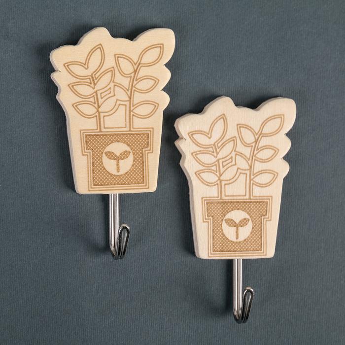 Набор крючков на липучке «Цветы», 2 шт, дерево, форма МИКС - фото 259911271
