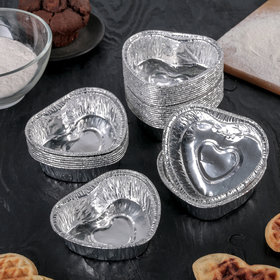A set of forms for baking foil 8h9h3 cm, 30 PCs