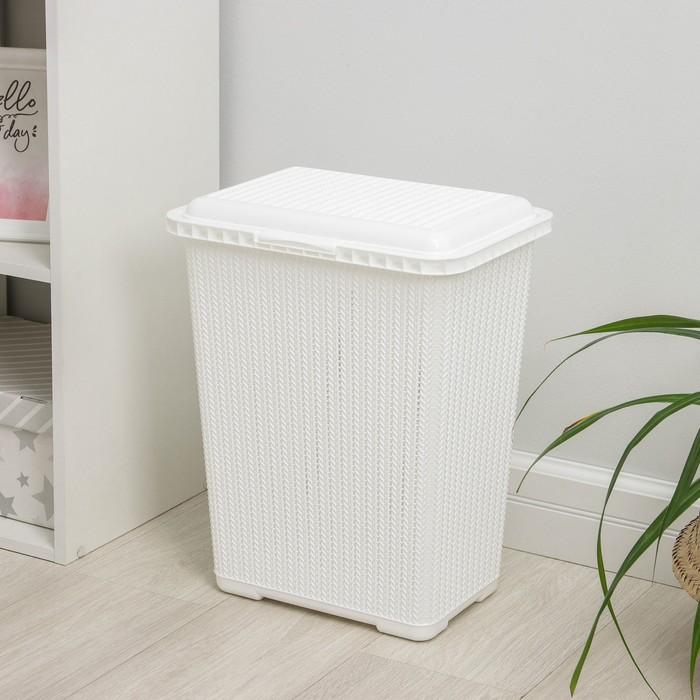 Корзина для белья с крышкой «Вязаное плетение», 25 л, 37×27,5×46,5 см, цвет белый - фото 4637216