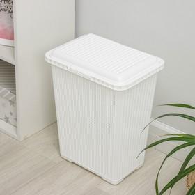 Корзина для белья с крышкой «Вязаное плетение», 25 л, 37×27,5×46,5 см, цвет белый - фото 4637217