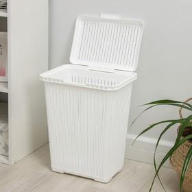 Корзина для белья с крышкой «Вязаное плетение», 25 л, 37×27,5×46,5 см, цвет белый - фото 4637218
