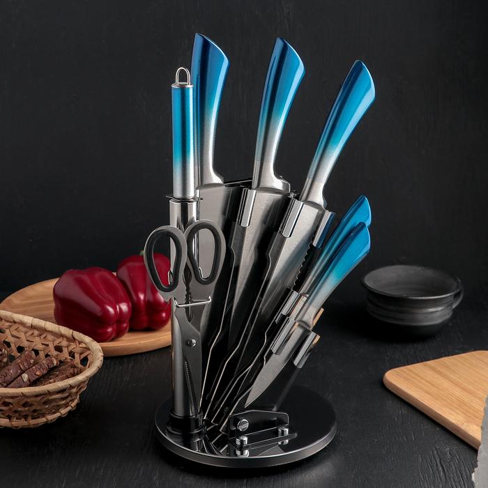Набор ножей «Градиент», 7 предметов: 5 ножей, лезвия 8,5/11,5/16,5/20/20 см, мусат, ножницы, цвет синий