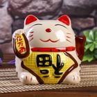 "Souvenir cat piggy Bank ceramic ""Maneki-neko with a hieroglyph on her belly"" MIX 15,5x16,5х13 cm"