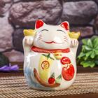 "Souvenir cat piggy Bank ceramic ""Maneki neko pattern on the abdomen"" MIX 16х13х12,5 cm"