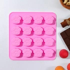 Форма для льда и шоколада 16×15,5 см «Лапки», 16 ячеек (3×2,7×0,5 см), цвет МИКС