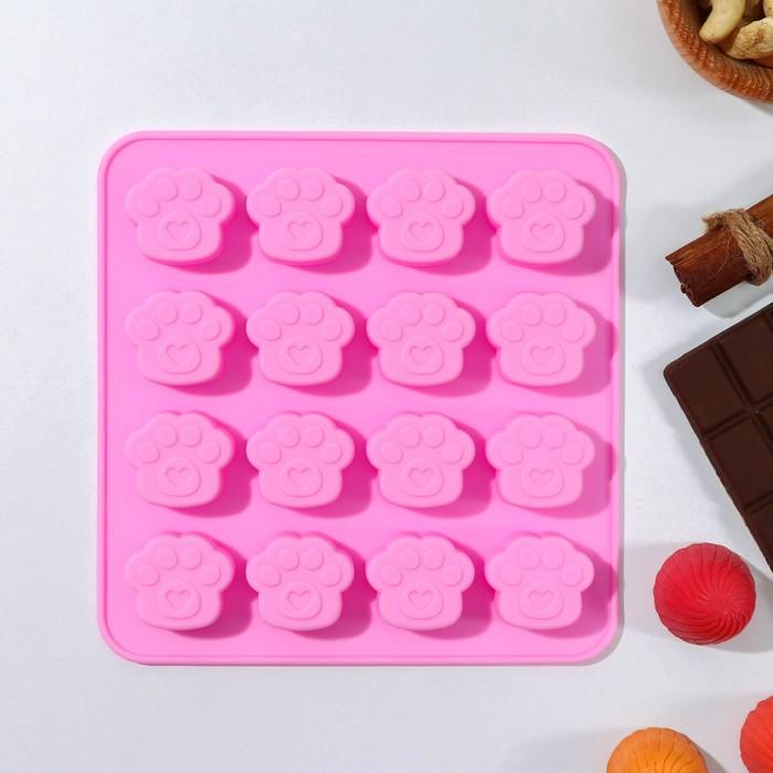 Форма для льда и шоколада «Лапки», 16×15,5 см, 16 ячеек (3×2,7×0,5 см), цвет МИКС - фото 308047961