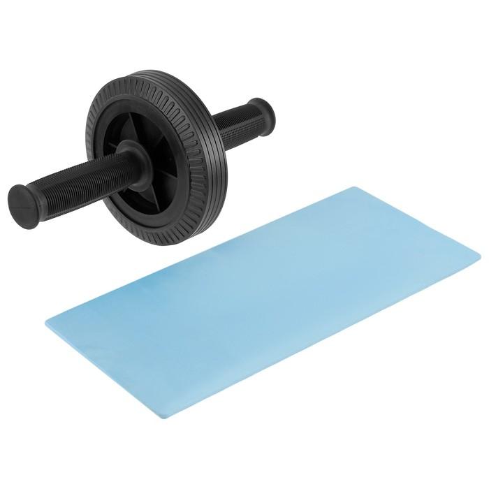 Ролик для пресса, 1 колесо 27 х 14 см, с ковриком, цвет чёрный