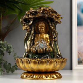 """Фонтан настольный от сети, подсветка """"Будда под деревом"""" 32х23х23 см"""