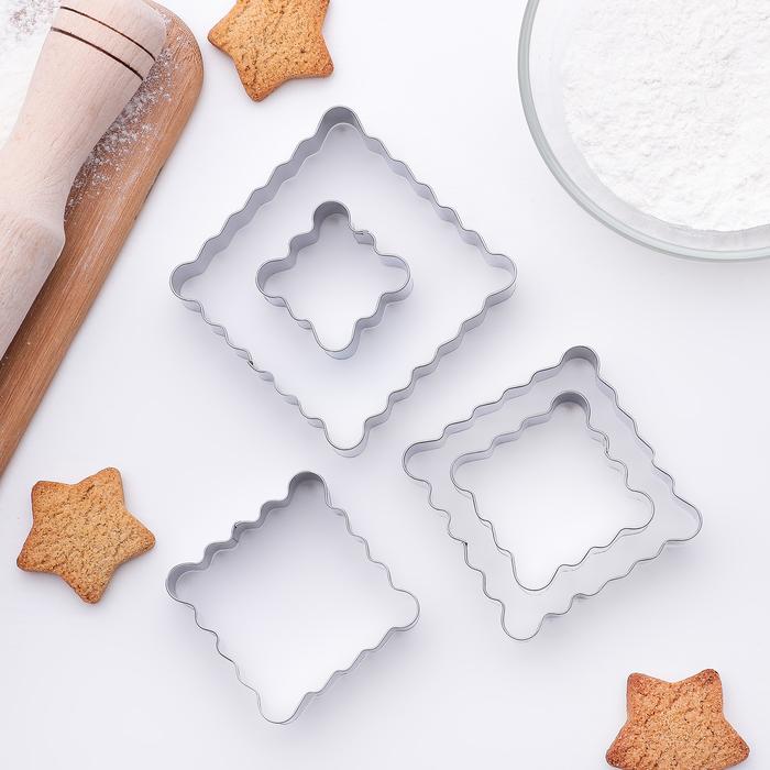 """Набор форм для вырезания печенья 7,5x7,5x2 см """"Квадрат ребристый"""", 5 шт"""