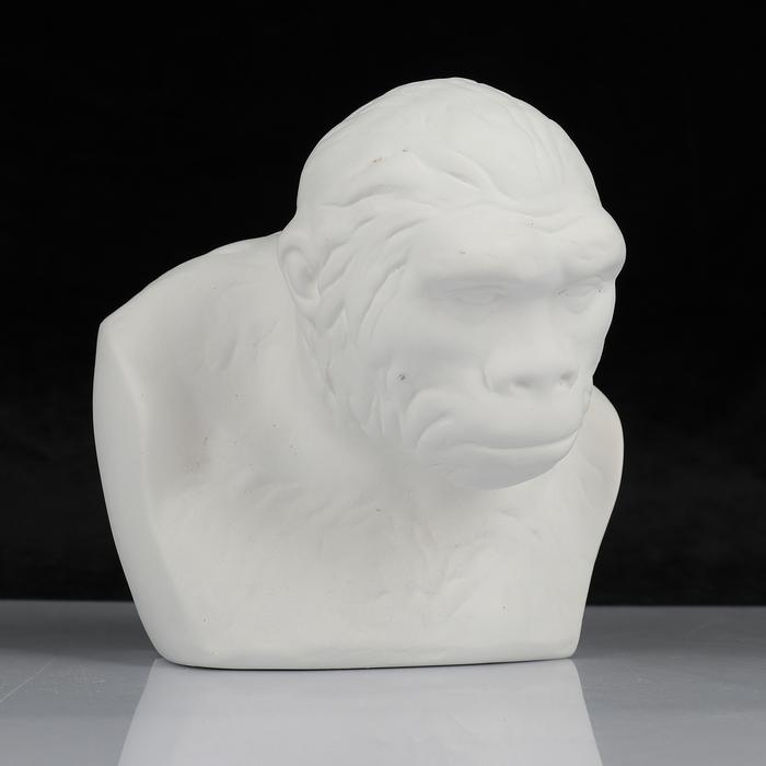 Гипсовая фигура, Бюст питекантропа «Мастерская Экорше», 16.5х14х17.5 см