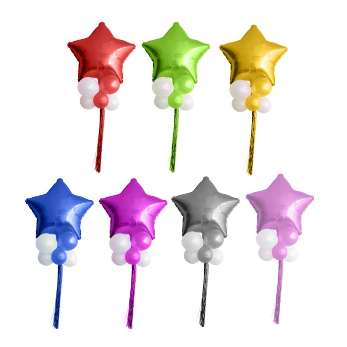 Букет из шаров «Звезда в шариках», латекс, фольга, мишура, набор 9 шт., цвета МИКС - фото 308469859